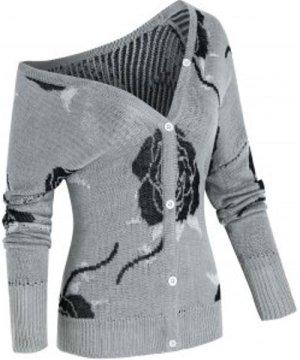Plus Size Rose Jacquard Skew Neck Cardigan