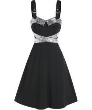 Sparkling Sweetheart Neck A Line Dress