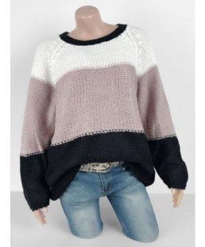 Plus Size Raglan Sleeve Colorblock Sweater