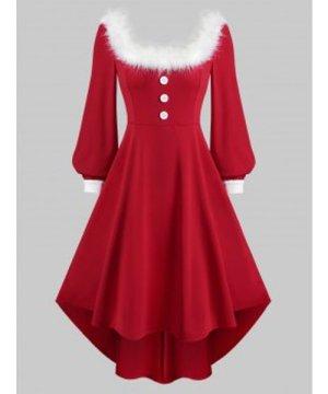 Christmas Faux Fur Collar Long Sleeve High Low Dress
