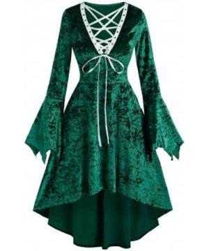 Christmas Lace-up Bell Sleeve High Waist Dress