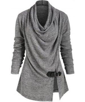 Heather Cowl Neck Slit Buckle Knitwear