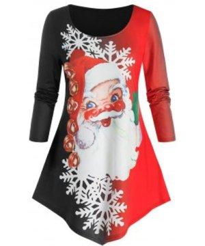 Plus Size Santa Claus Print Colorblock Christmas T Shirt
