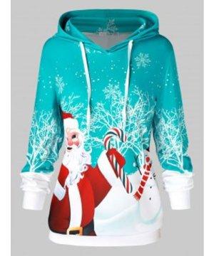 Plus Size Father Christmas Snowflake Printed Hoodie