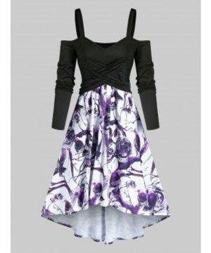 Crisscross Floral Print Open Shoulder High Low Dress