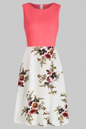 Flower Print A Line Sleeveless Dress