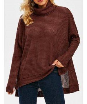 Turtleneck Drop Shoulder High Low Slit Knitwear
