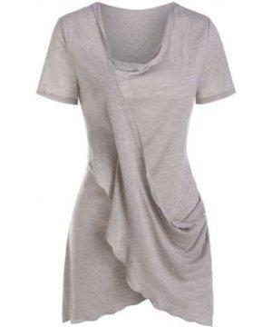 Crossover Draped Asymmetric T Shirt