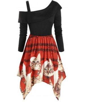 Cat Elk Snowflake Printed Christmas Open Shoulder Plus Size Dress