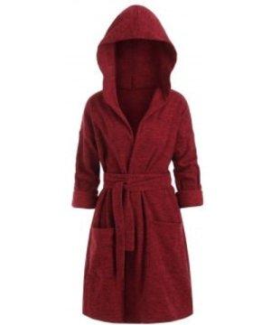 Space Dye Belted Hooded Loose Coat