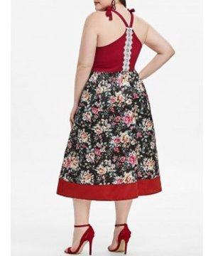 Floral Tie Shoulder Lace Trim Plus Size Dress