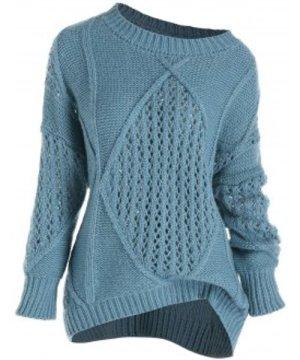 Plus Size Mixed Open Knit Drop Shoulder Sweater