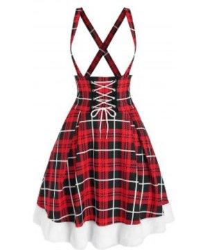 Crisscross Lace Up Plaid Suspender Dress