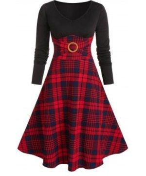 Plaid Print O-ring Long Sleeve Dress