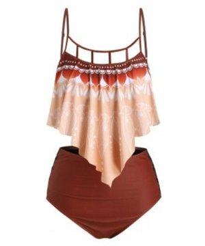 Plus Size Lattice Cut Printed Ruffle Tankini Swimsuit