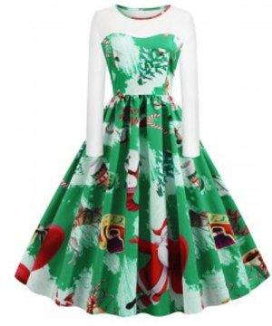 Plus Size Christmas Santa Claus Tree Print Vintage Dress