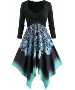 Plus Size Twist Printed Handkerchief Long Sleeve Dress