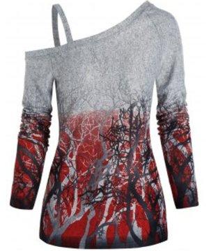 Tree Ombre Print Cold Shoulder T-shirt
