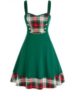 Plus Size Plaid Print Chain Flare Dress