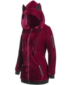 Plus Size Hooded Velvet Zip Pocket Tunic Coat