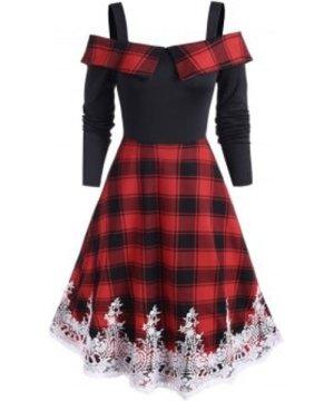 Tartan Print Open Shoulder Eyelash Lace Mid Calf Dress