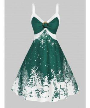 Christmas Plus Size O Ring Elk Print Dress