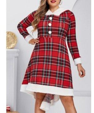 Plus Size Plaid Hooded Faux Fur Panel A Line Dress