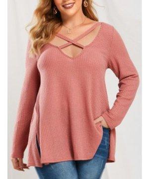 Plus Size Crisscross Side Slit Knitwear
