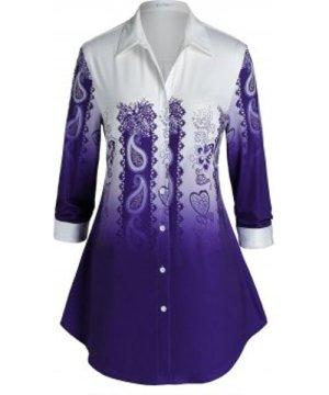 Plus Size Ombre Paisley Button Up Shirt