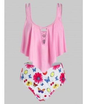 Plus Size Lattice Flounce Butterfly Flower Print Tankini Swimwear