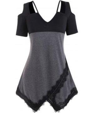 Plus Size Cutout Cold Shoulder Eyelash Lace T Shirt