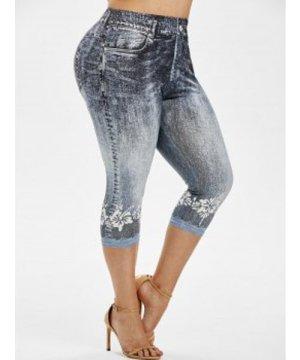 Plus Size 3D Jean Print Cropped Skinny Jeggings