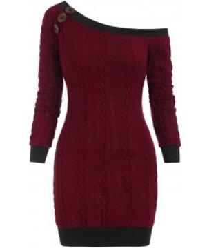 Skew Neck Cable Knit Mini Sweater Dress