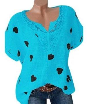 Plus Size Lace Crochet Heart Print Top