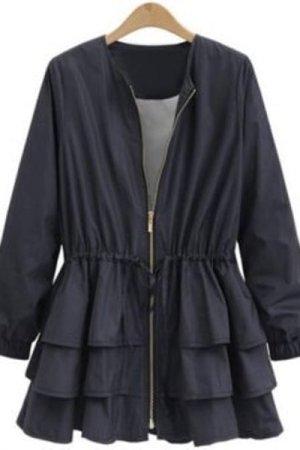 Plus Size Drawstring Layered Jacket