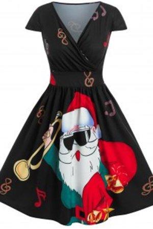 Christmas Santa Claus Print Surplice Dress