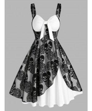 Gothic Skull Lace Insert Sleeveless Twofer Dress