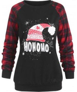 Raglan Sleeve Plaid Christmas Graphic Sweatshirt
