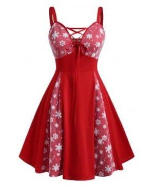 Snowflake Mesh Panel Lace Up Christmas Plus Size Dress