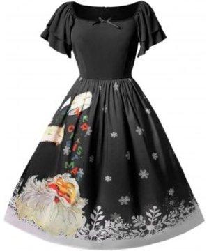 Christmas Plus Size Santa Claus Printed Dress