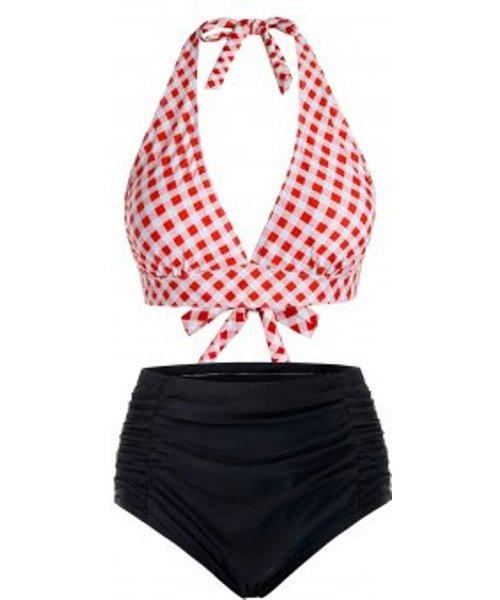 Plus Size Plaid Halter Tankini Swimsuit