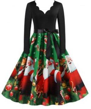 Christmas Berry Santa Claus Gift Print Scalloped Dress