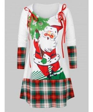 Plus Size Santa Claus Print Plaid Christmas T Shirt