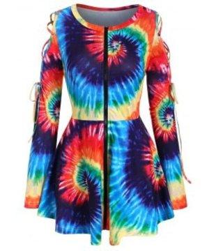 Rainbow Tie Dye Lace Up Zip Front Plus Size Top