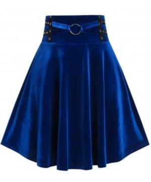 Plus Size Velvet Grommet Ring A Line Skirt