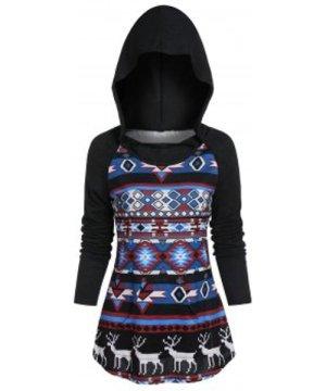 Christmas Hooded Raglan Sleeve Tribal Print Kangaroo Pocket Knitwear