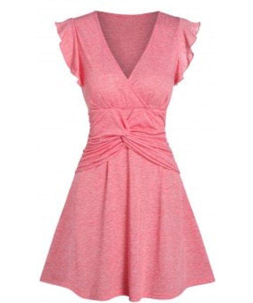 Plunging Neck Front Twist Dress