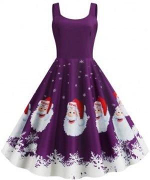 Santa Claus Snowflake Christmas Plus Size Dress