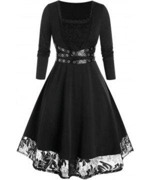 Plus Size Grommet Lace Insert Long Sleeve Midi Dress