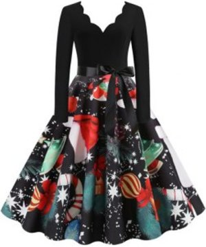 Scalloped Neck Christmas Printed Belted A Line Dress